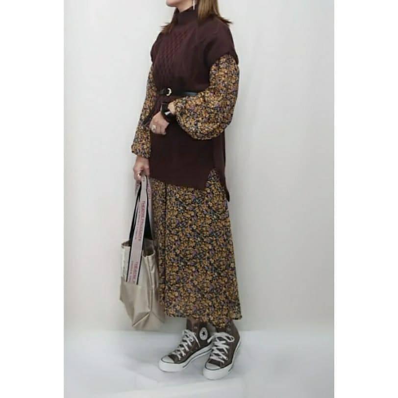 最高気温21度・最低気温14度 mamkorisaの服装