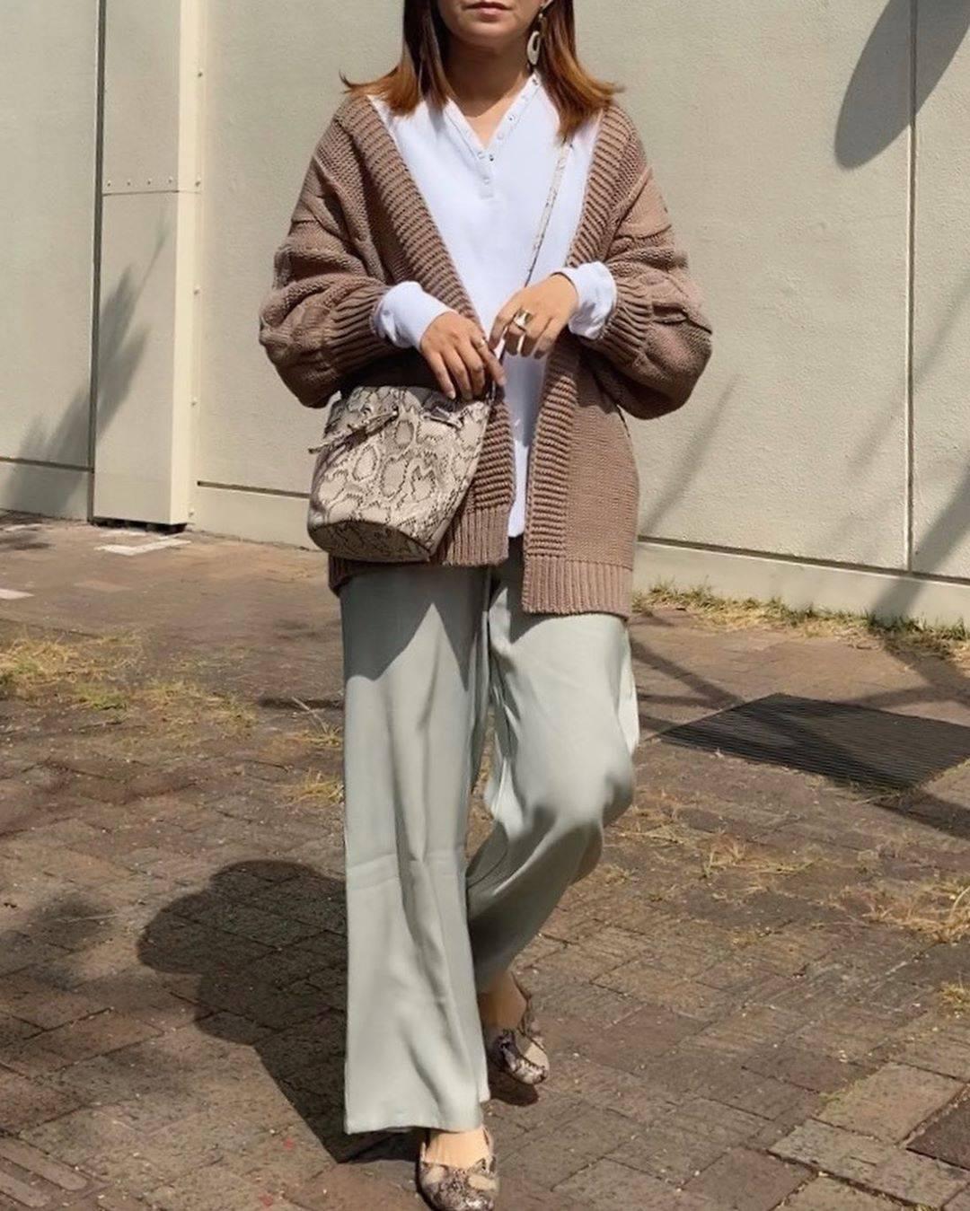 最高気温12度・最低気温1度 mamkorisaの服装
