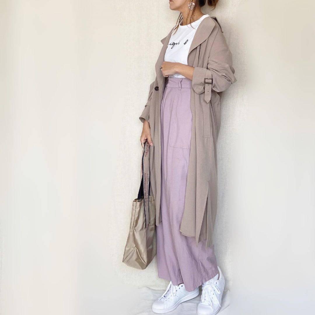 最高気温18度・最低気温12度 mamkorisaの服装