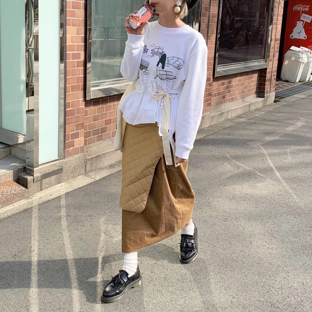 最高気温12度・最低気温7度 rira_yukariの服装