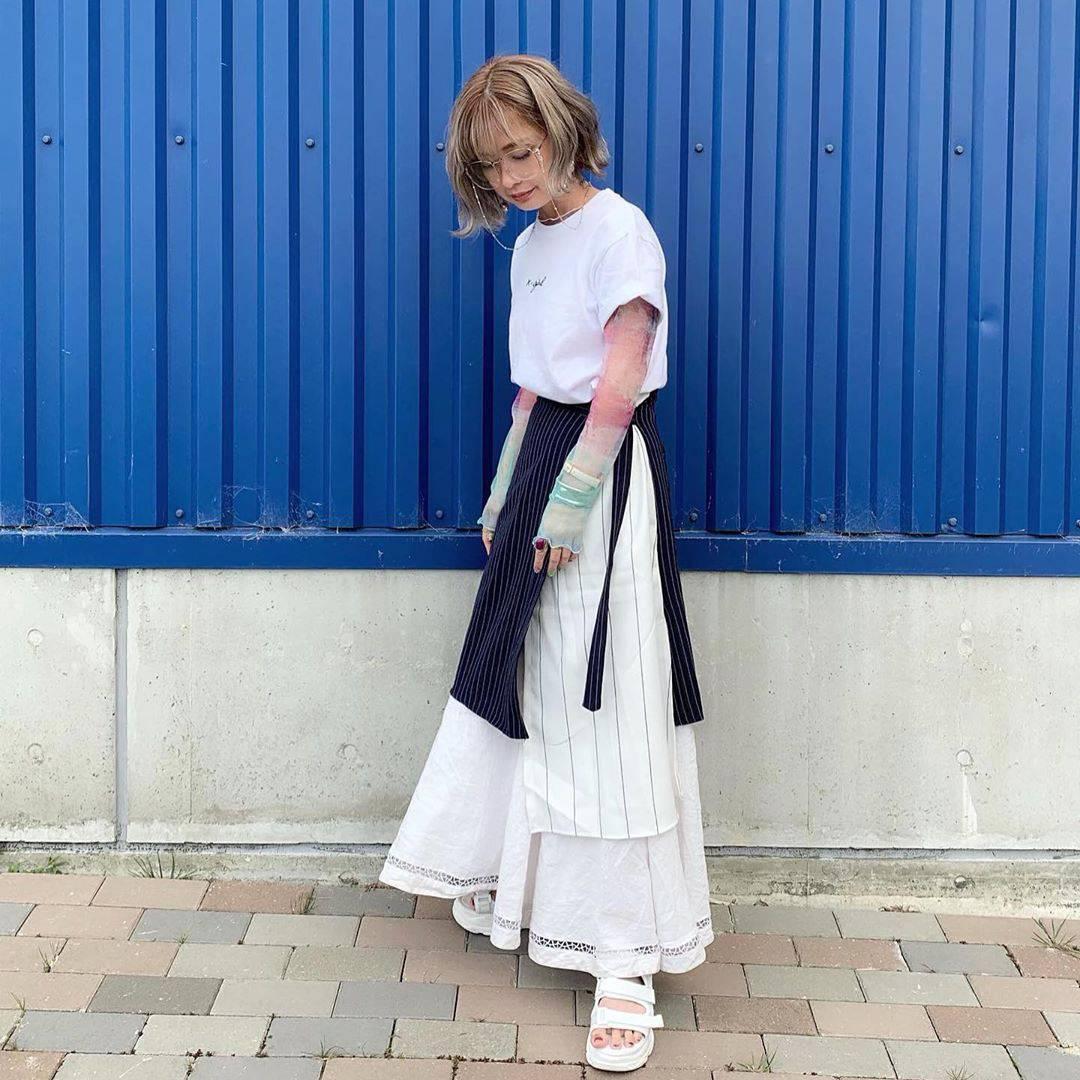 最高気温25度・最低気温18度 rira_yukariの服装