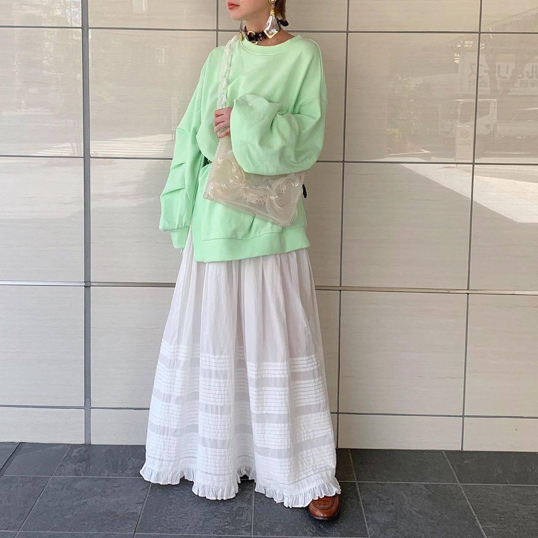 最高気温19度・最低気温9度 rira_yukariの服装